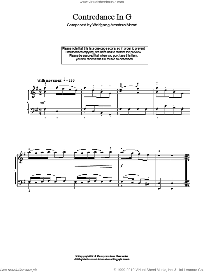 Contredance In G sheet music for piano solo by Wolfgang Amadeus Mozart. Score Image Preview.