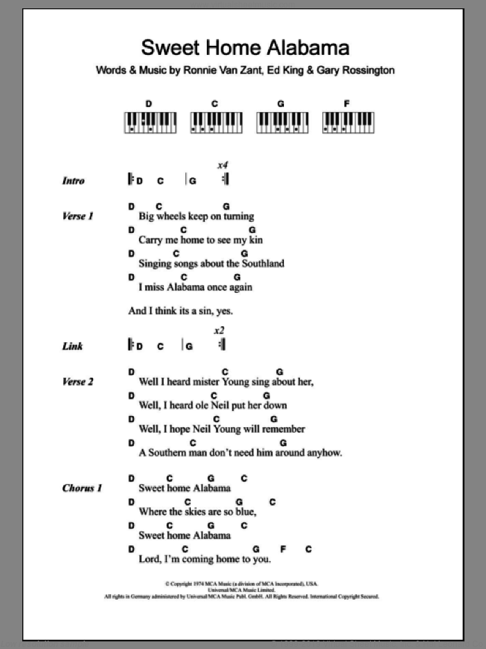 Sweet Home Alabama sheet music for piano solo (chords, lyrics, melody) by Lynyrd Skynyrd, Edward King, Gary Rossington and Ronnie Van Zant, intermediate piano (chords, lyrics, melody). Score Image Preview.