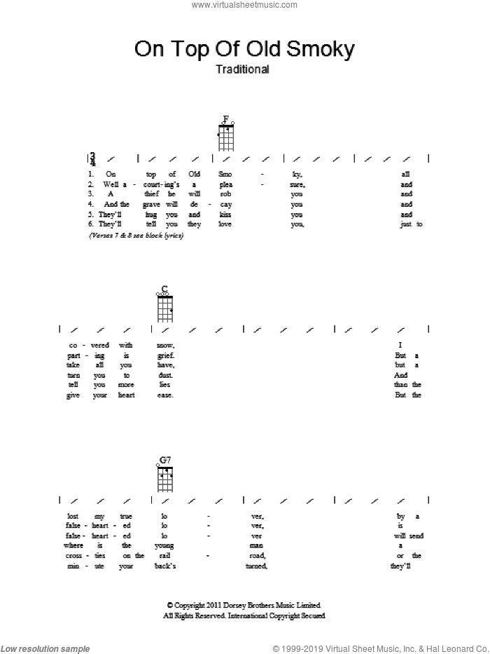 On Top Of Old Smoky sheet music for ukulele (chords). Score Image Preview.