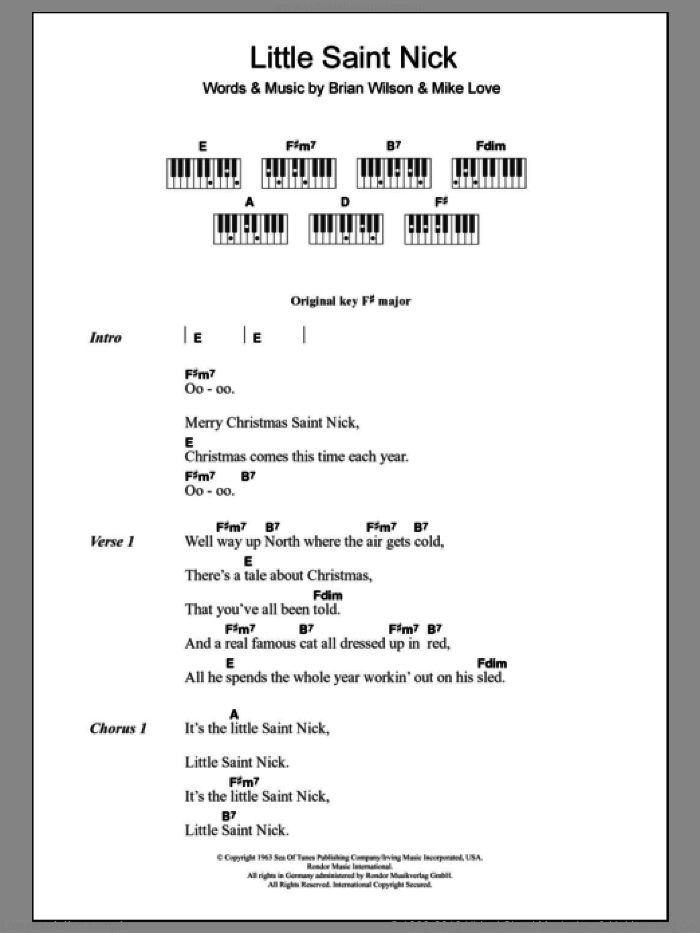 Little Saint Nick sheet music for piano solo (chords, lyrics, melody) by The Beach Boys, Brian Wilson and Mike Love, intermediate piano (chords, lyrics, melody)