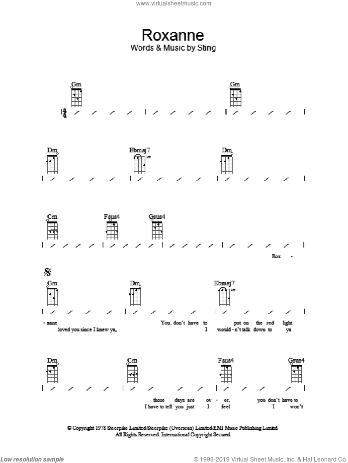 Roxanne sheet music for ukulele (chords) by The Police and Sting, intermediate ukulele (chords). Score Image Preview.