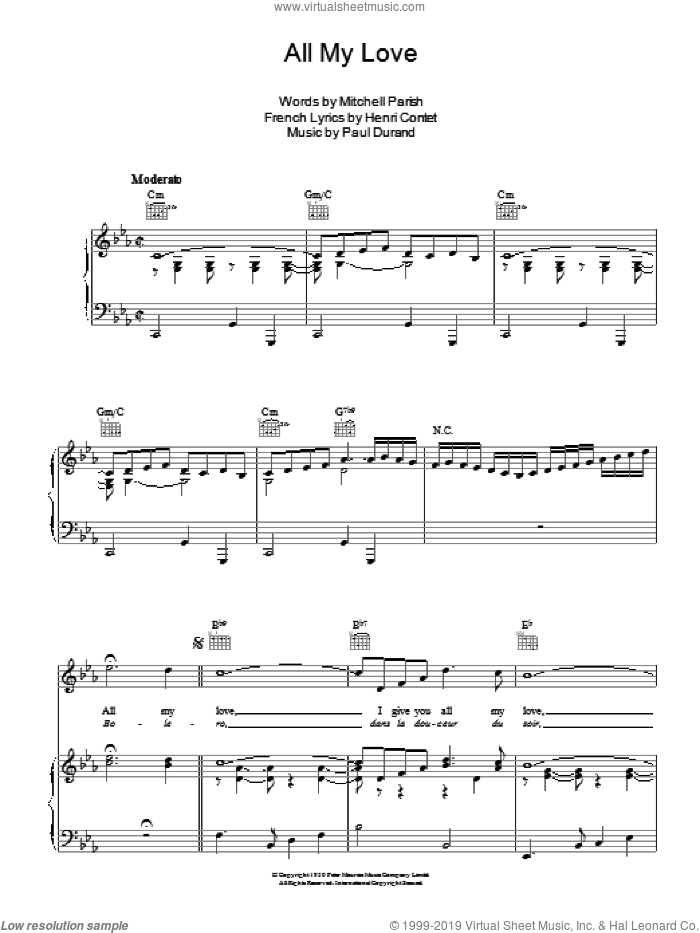 All My Love sheet music for voice, piano or guitar by Patti Page, Henri Contet, Mitchell Parish and Paul Durand, intermediate skill level