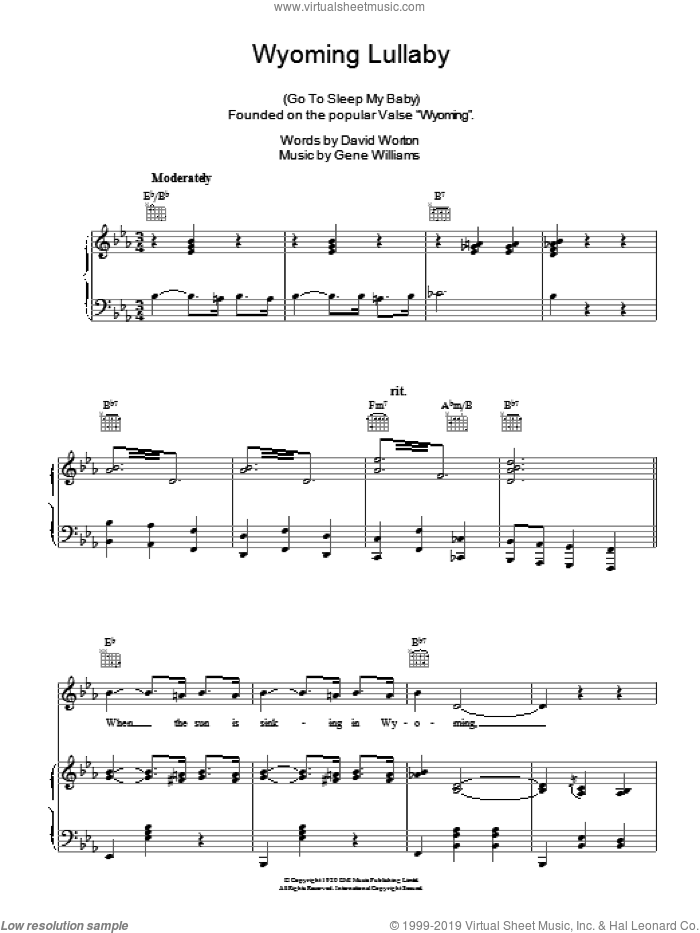 Wyoming Lullaby sheet music for voice, piano or guitar by Alma Cogan, intermediate