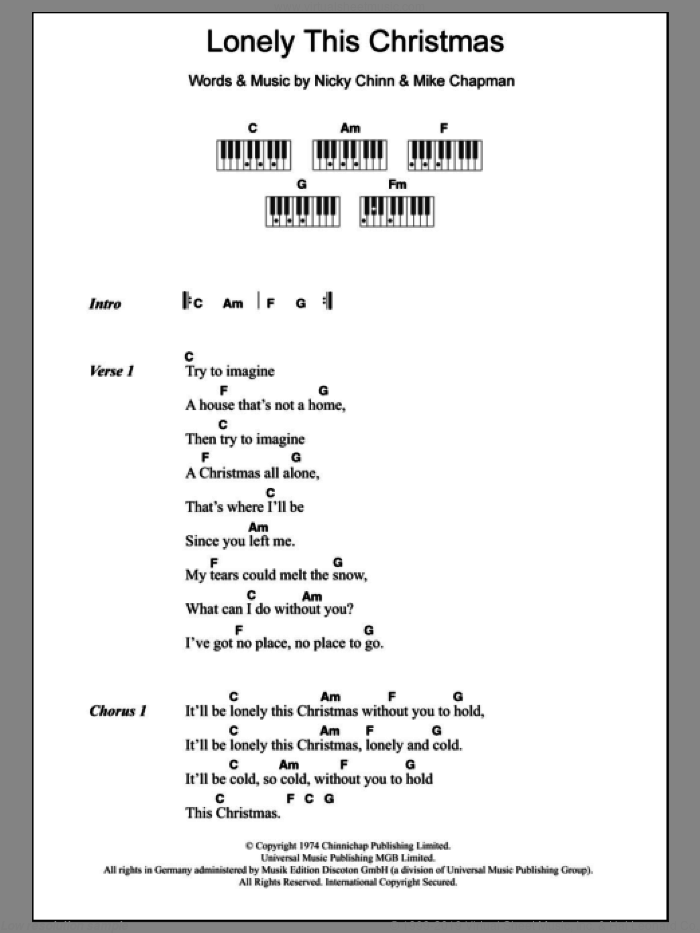 Lonely This Christmas sheet music for piano solo (chords, lyrics, melody) by Nicky Chinn