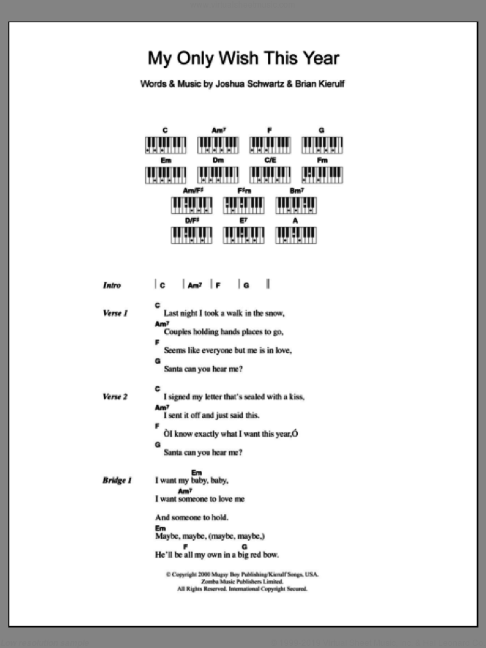 My Only Wish This Year sheet music for piano solo (chords, lyrics, melody) by Britney Spears, Brian Kierulf and Joshua Schwartz, intermediate piano (chords, lyrics, melody)