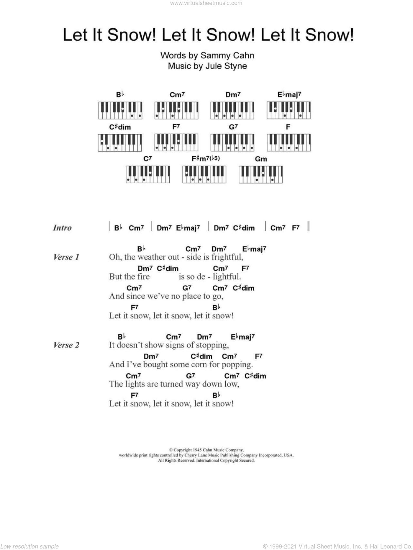 Let It Snow! Let It Snow! Let It Snow! sheet music for piano solo (chords, lyrics, melody) by Doris Day, Jule Styne and Sammy Cahn, intermediate piano (chords, lyrics, melody)