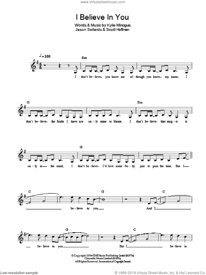 I Believe In You sheet music for piano solo by Scott Hoffman and Kylie Minogue. Score Image Preview.