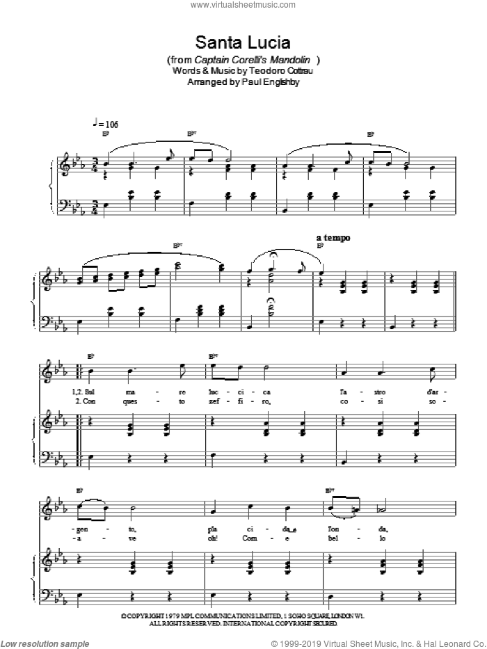 Santa Lucia sheet music for voice, piano or guitar by Teodoro Cottrau and Paul Englishby. Score Image Preview.