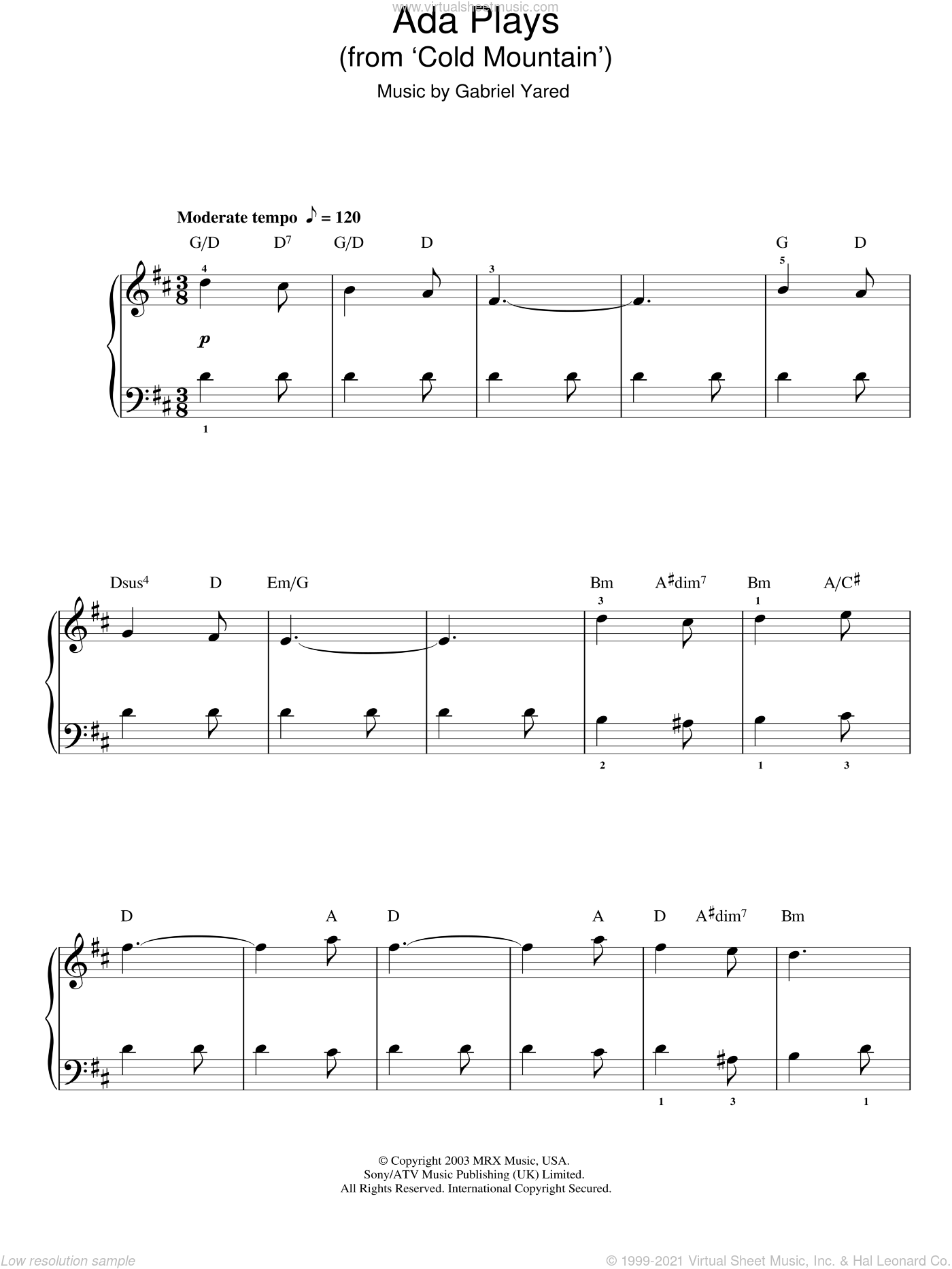 Ada Plays sheet music for piano solo by Gabriel Yared. Score Image Preview.