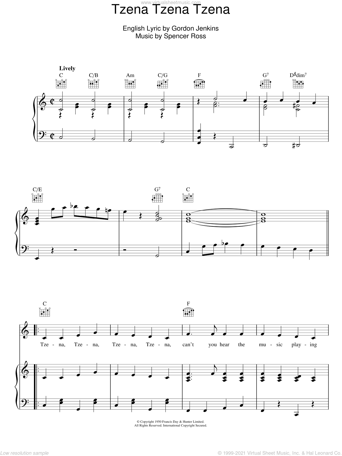 Tzena Tzena Tzena sheet music for voice, piano or guitar by Spencer Ross and Gordon Jenkins. Score Image Preview.