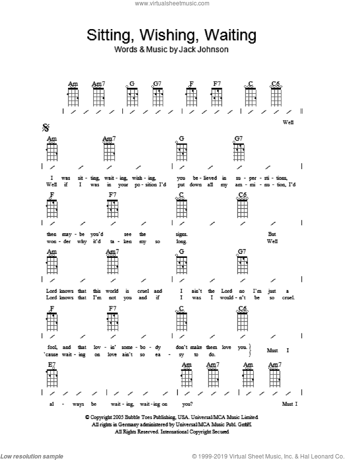 Sitting, Waiting, Wishing sheet music for ukulele (chords) by Jack Johnson, intermediate skill level