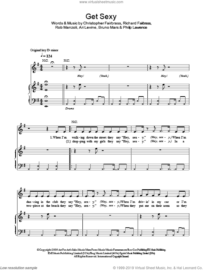 Get Sexy sheet music for voice, piano or guitar by Rob Manzoli, Sugababes, Ari Levine, Bruno Mars, Philip Lawrence and Richard Fairbrass