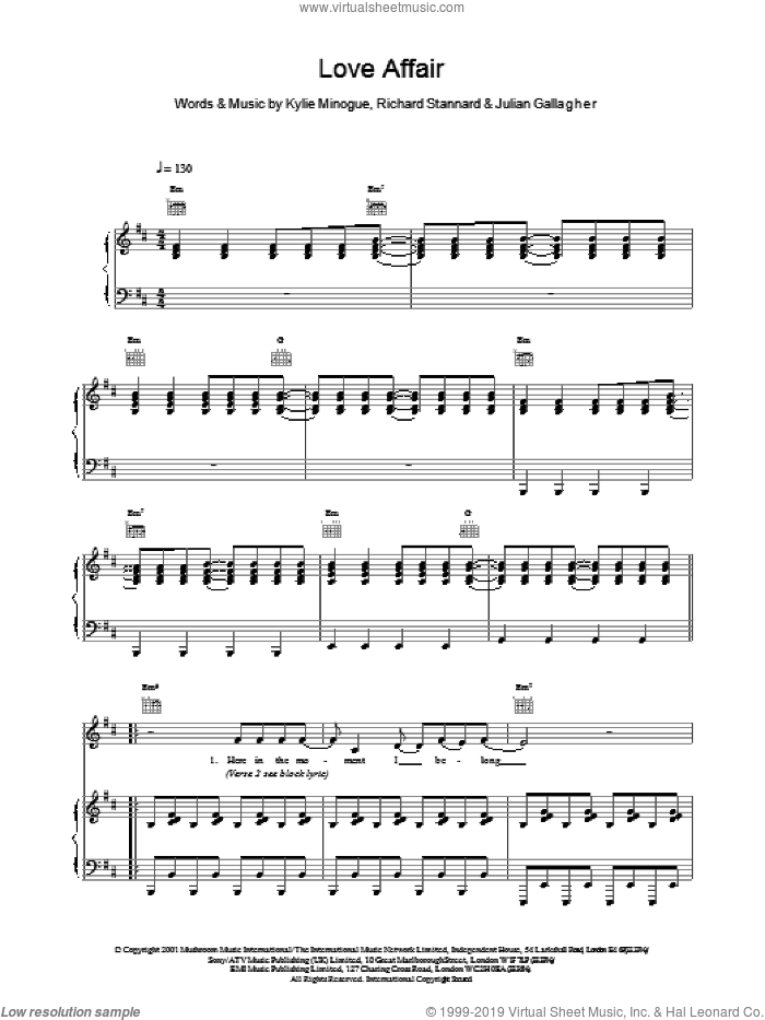 Love Affair sheet music for voice, piano or guitar by Kylie Minogue, Julian Gallagher and Richard Stannard, intermediate skill level