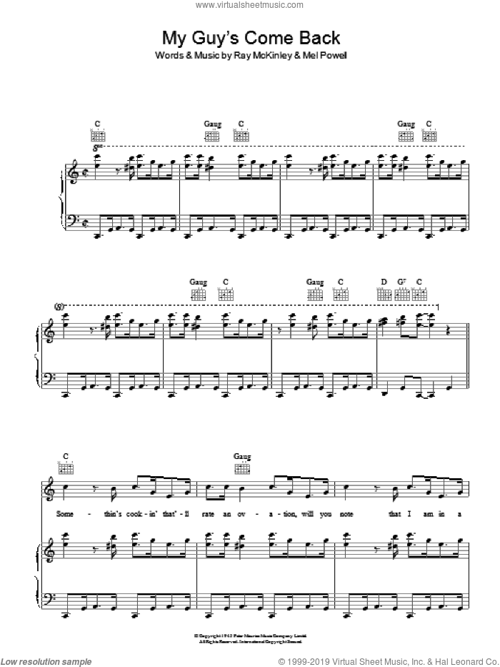 My Guy's Come Back sheet music for voice, piano or guitar by Ray McKinley. Score Image Preview.