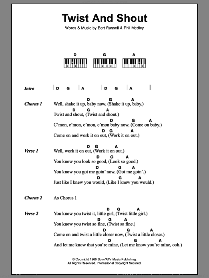 Twist And Shout sheet music for piano solo (chords, lyrics, melody) by Phil Medley, The Beatles and Bert Russell. Score Image Preview.