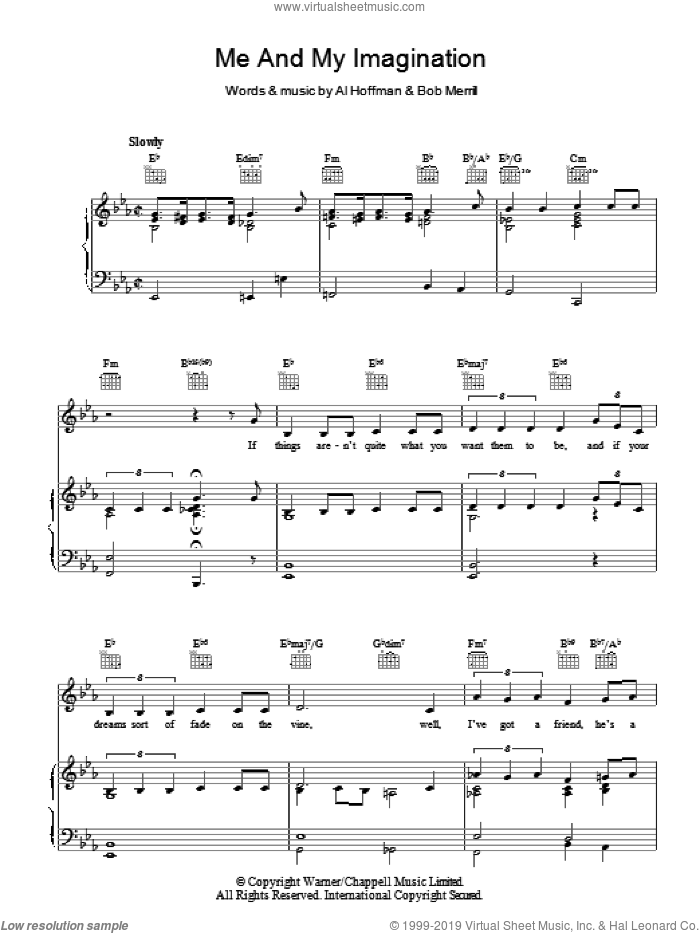 Me And My Imagination sheet music for voice, piano or guitar by Bob Merrill and Al Hoffman, intermediate. Score Image Preview.