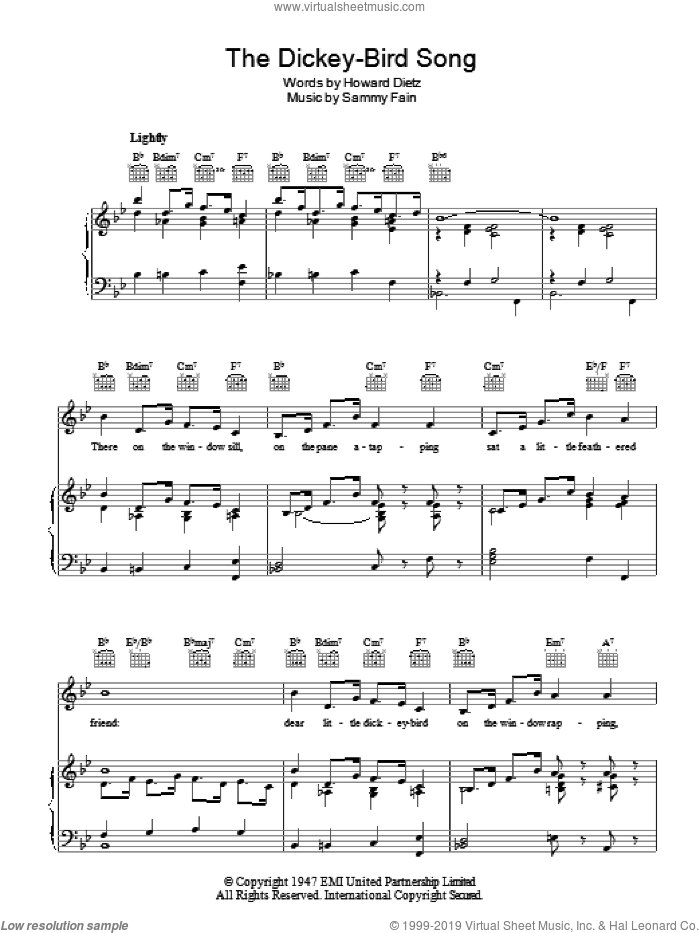 The Dickey-Bird Song sheet music for voice, piano or guitar by Sammy Fain, Freddie Martin and Howard Dietz. Score Image Preview.