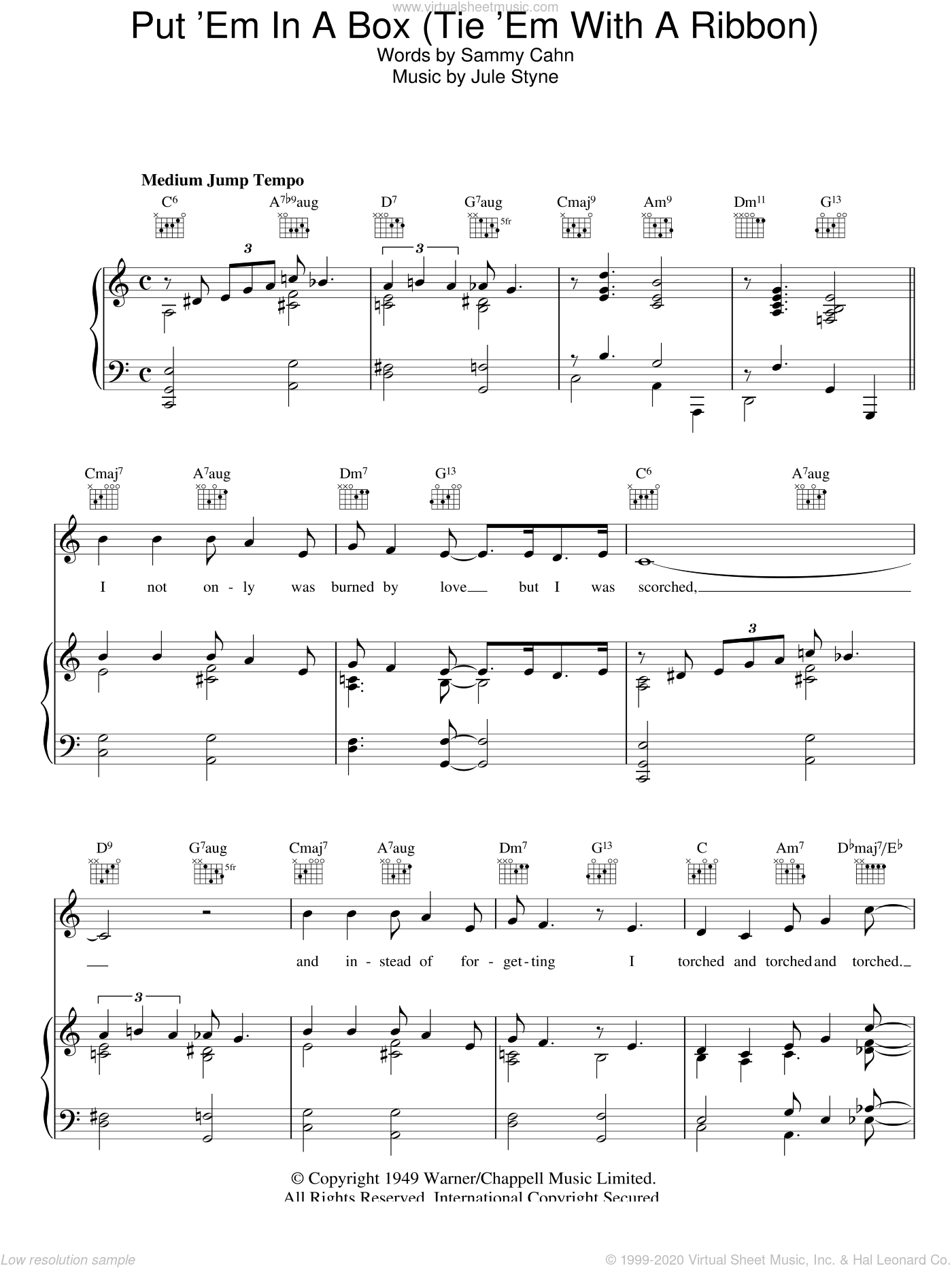 Put 'Em In A Box (Tie 'Em With A Ribbon) sheet music for voice, piano or guitar by Doris Day, Jule Styne and Sammy Cahn, intermediate skill level