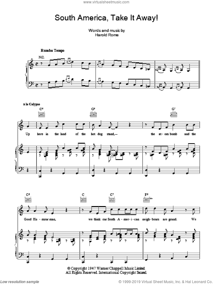 South America, Take It Away! sheet music for voice, piano or guitar by Harold Rome