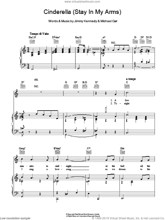 Cinderella (Stay In My Arms) sheet music for voice, piano or guitar by Glenn Miller, Jimmy Kennedy and Michael Carr, intermediate voice, piano or guitar. Score Image Preview.