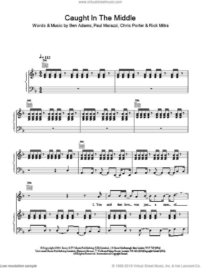 Caught In The Middle sheet music for voice, piano or guitar by Ben Adams, A1, Chris Porter and Paul Marazzi, intermediate skill level
