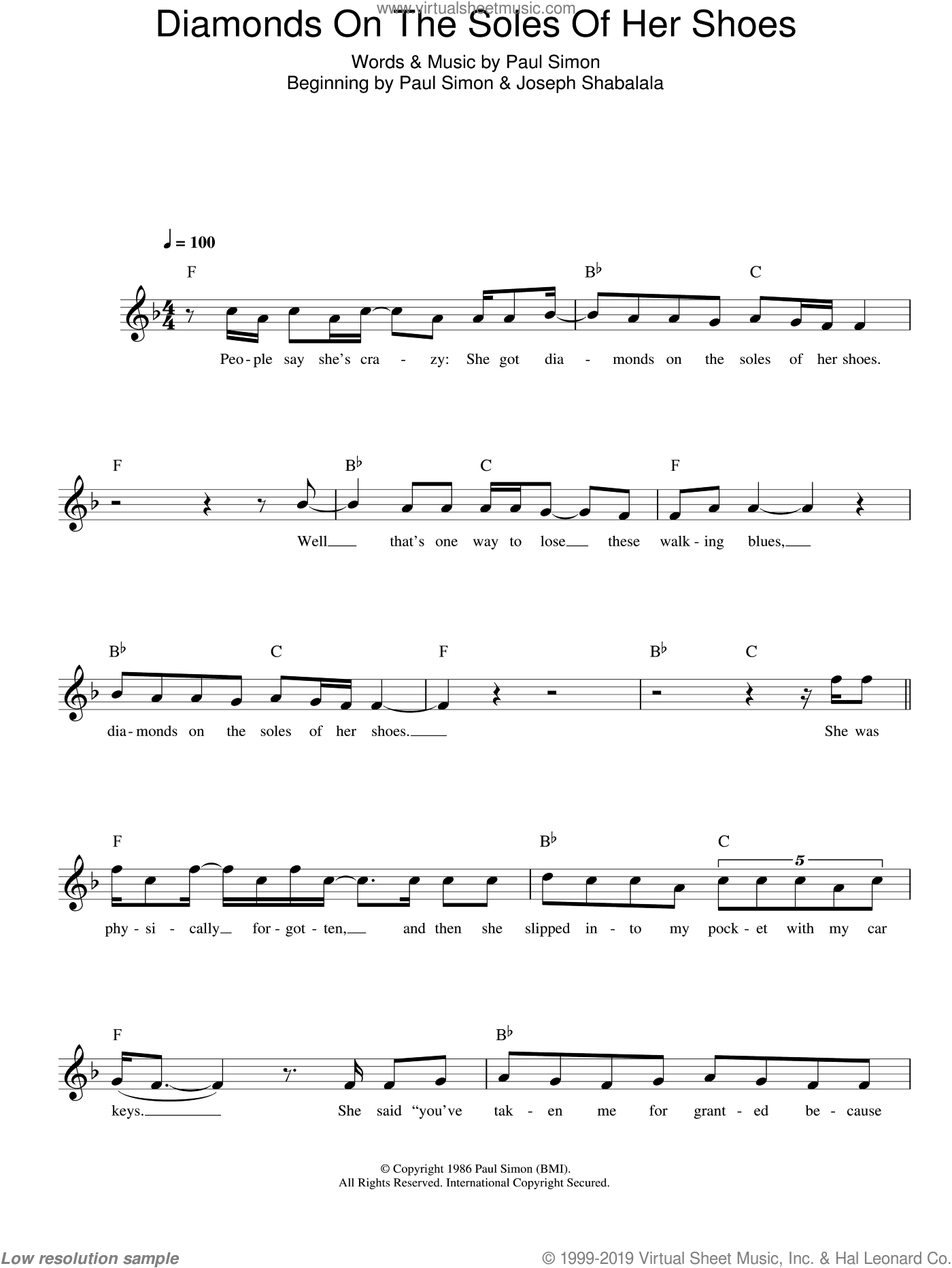 Diamonds On The Soles Of Her Shoes sheet music for voice and other instruments (fake book) by Paul Simon, intermediate skill level