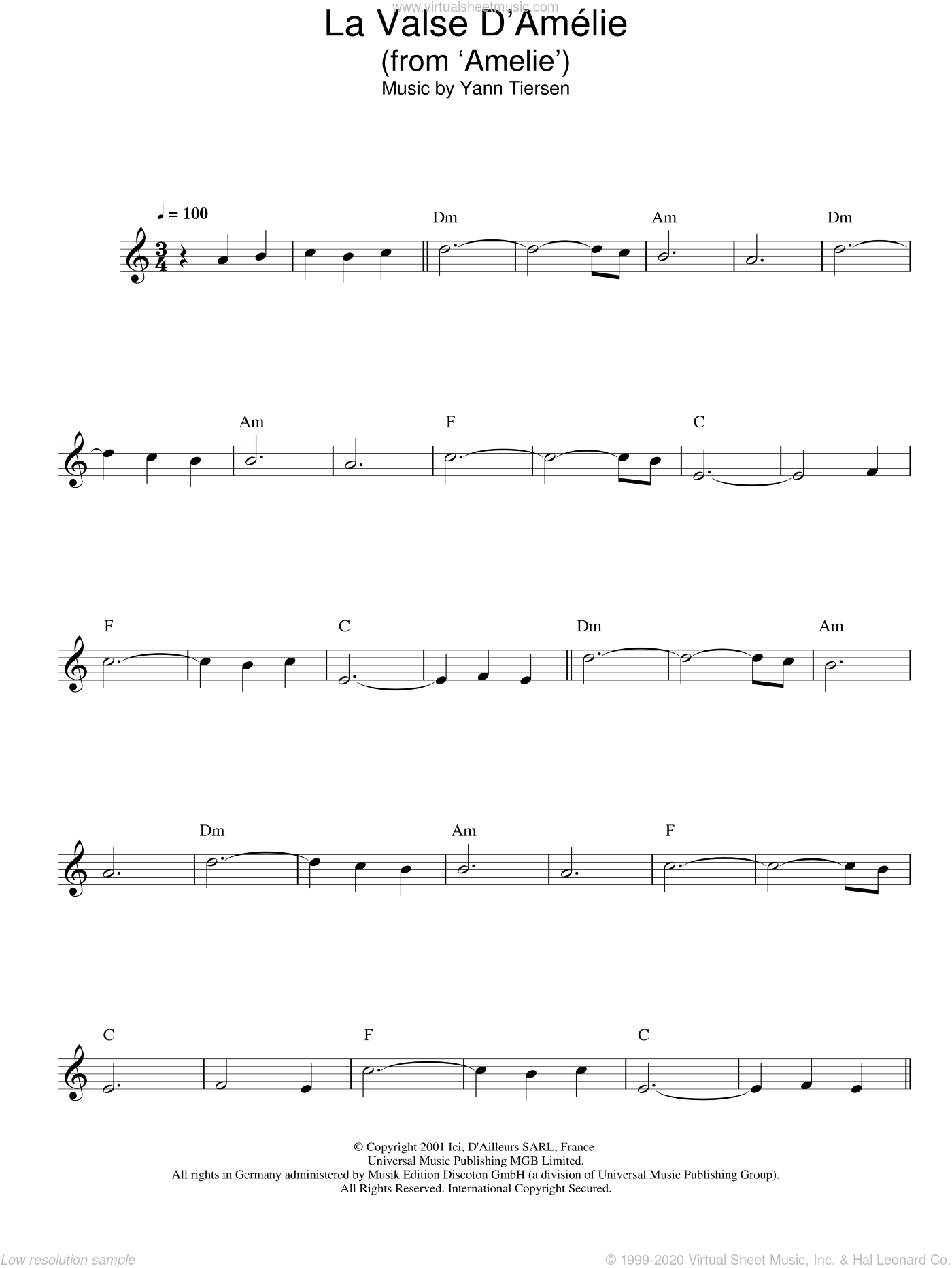 La Valse D'Amelie sheet music for voice and other instruments (fake book) by Yann Tiersen. Score Image Preview.
