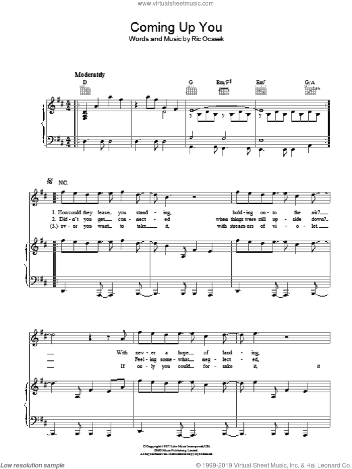 Coming Up You sheet music for voice, piano or guitar by Ric Ocasek. Score Image Preview.