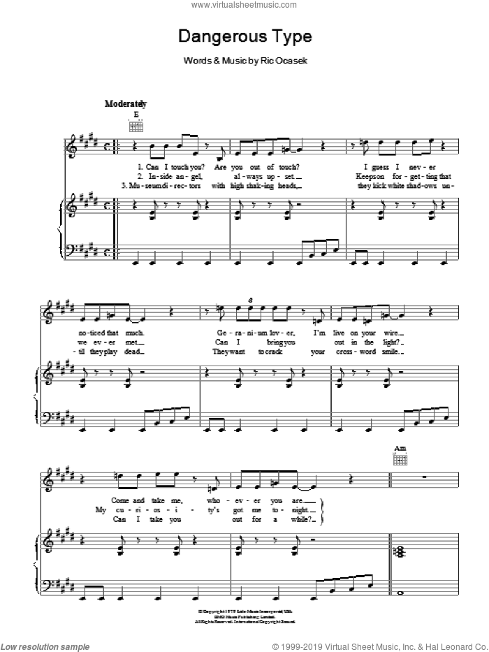 Dangerous Type sheet music for voice, piano or guitar by The Cars, intermediate. Score Image Preview.