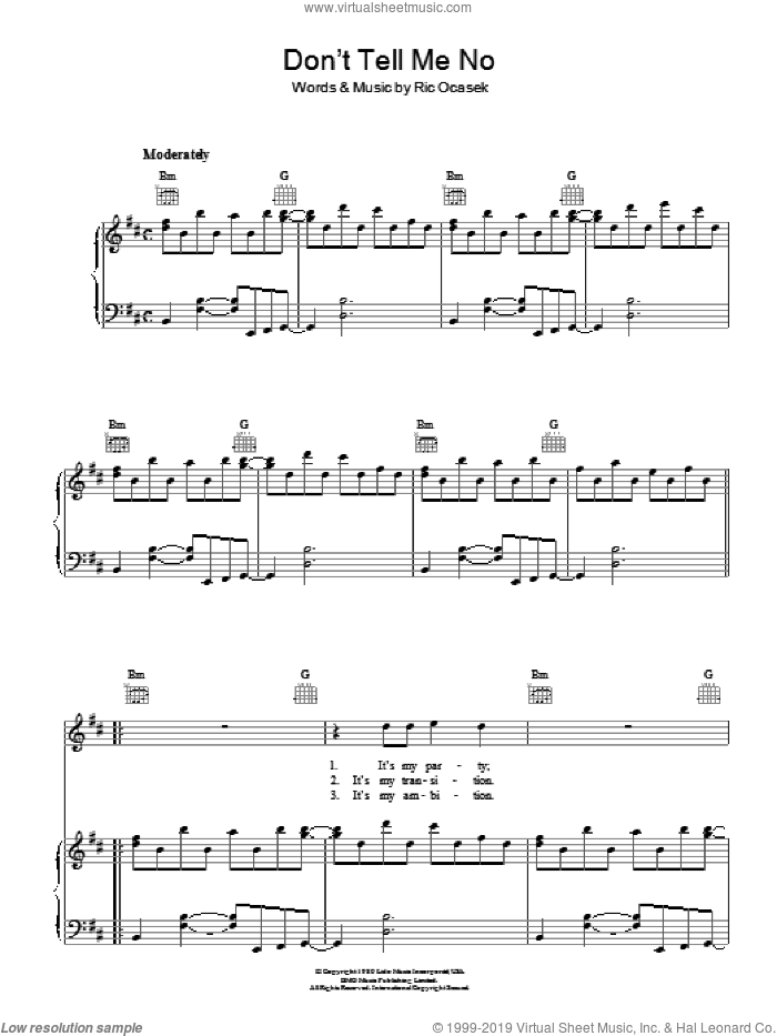Don't Tell Me No sheet music for voice, piano or guitar by The Cars, intermediate voice, piano or guitar. Score Image Preview.
