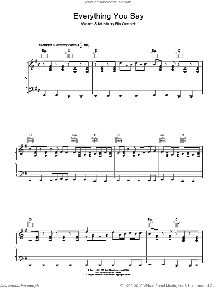 Everything You Say sheet music for voice, piano or guitar by The Cars. Score Image Preview.