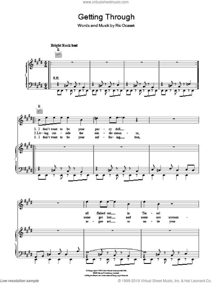 Getting Through sheet music for voice, piano or guitar by Ric Ocasek