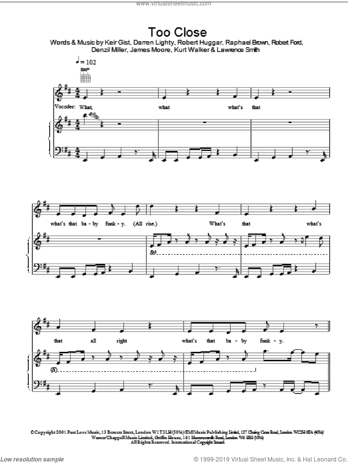 Too Close sheet music for voice, piano or guitar by Robert Huggar