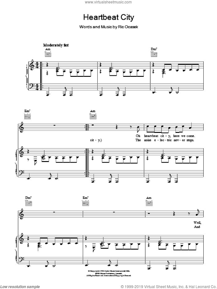 Heartbeat City sheet music for voice, piano or guitar by The Cars and Ric Ocasek, intermediate skill level