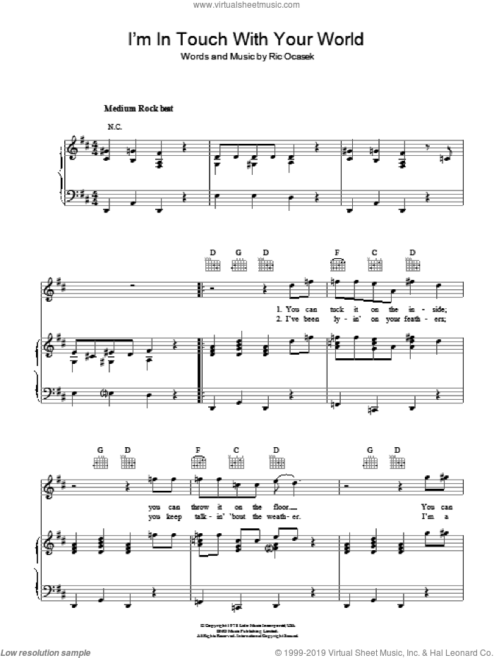 I'm In Touch With Your World sheet music for voice, piano or guitar by The Cars and Ric Ocasek, intermediate skill level