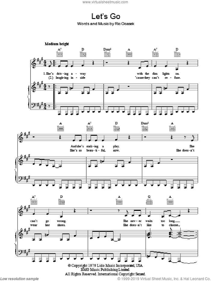 Let's Go sheet music for voice, piano or guitar by The Cars and Ric Ocasek, intermediate skill level