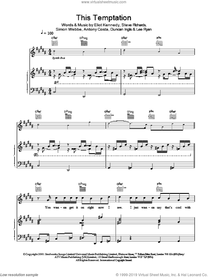 This Temptation sheet music for voice, piano or guitar by Steve Richards, Miscellaneous, Eliot Kennedy and Simon Webbe. Score Image Preview.