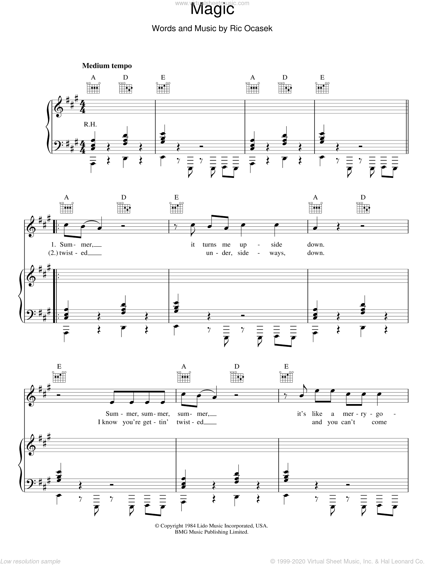 Magic sheet music for voice, piano or guitar by The Cars and Ric Ocasek, intermediate skill level