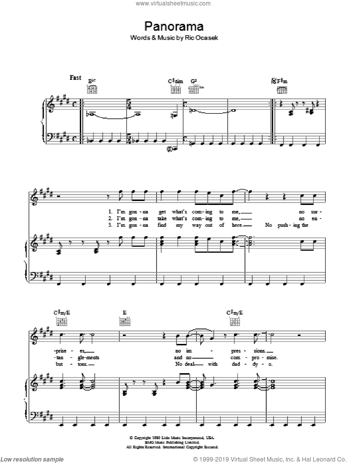 Panorama sheet music for voice, piano or guitar by The Cars. Score Image Preview.