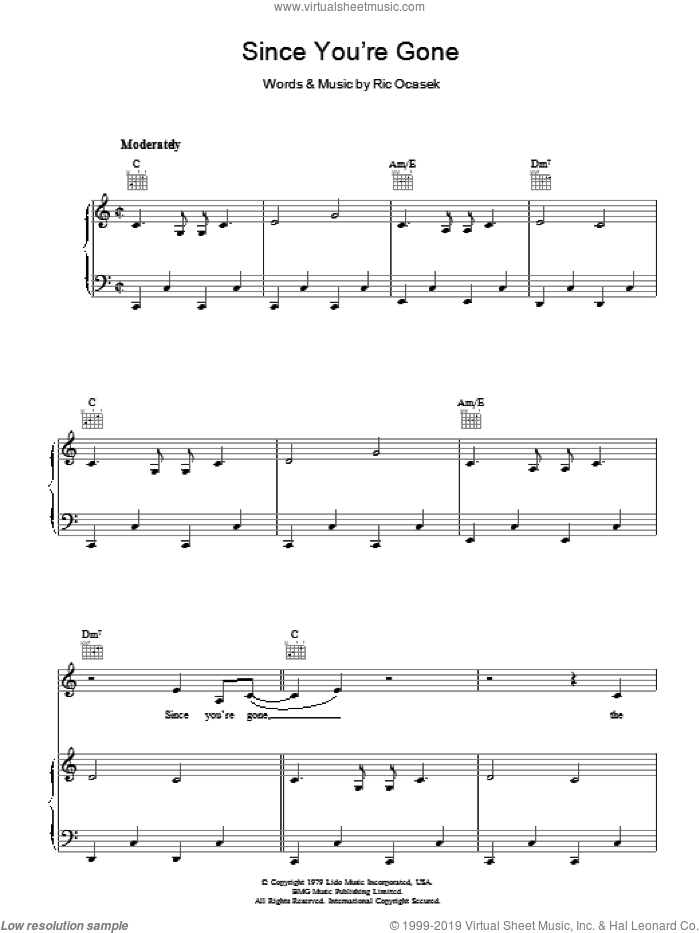 Since You're Gone sheet music for voice, piano or guitar by The Cars, intermediate voice, piano or guitar. Score Image Preview.