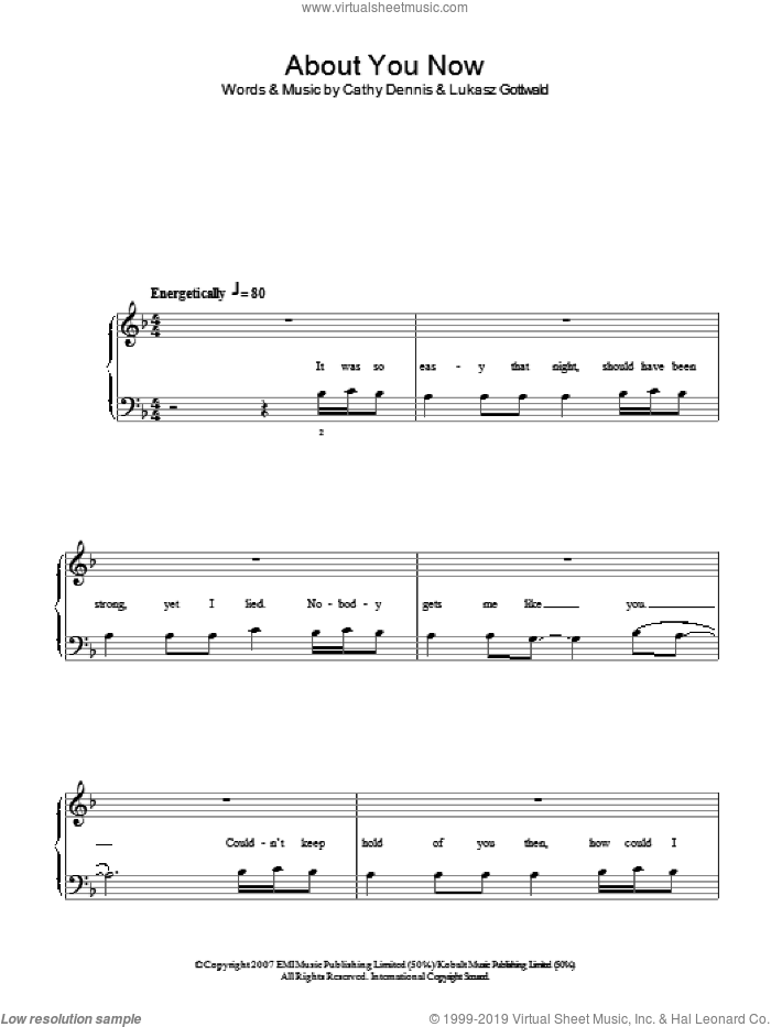 About You Now sheet music for piano solo (chords) by Lukasz Gottwald