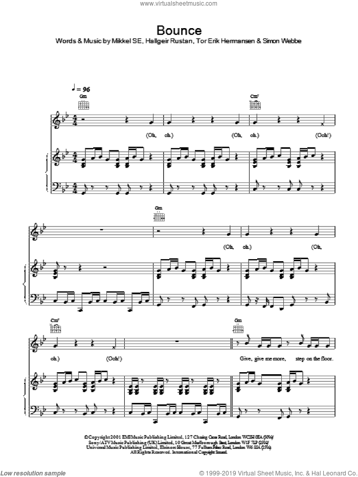 Bounce sheet music for voice, piano or guitar by Mikkel SE