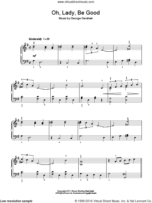Oh, Lady, Be Good sheet music for piano solo by George Gershwin. Score Image Preview.