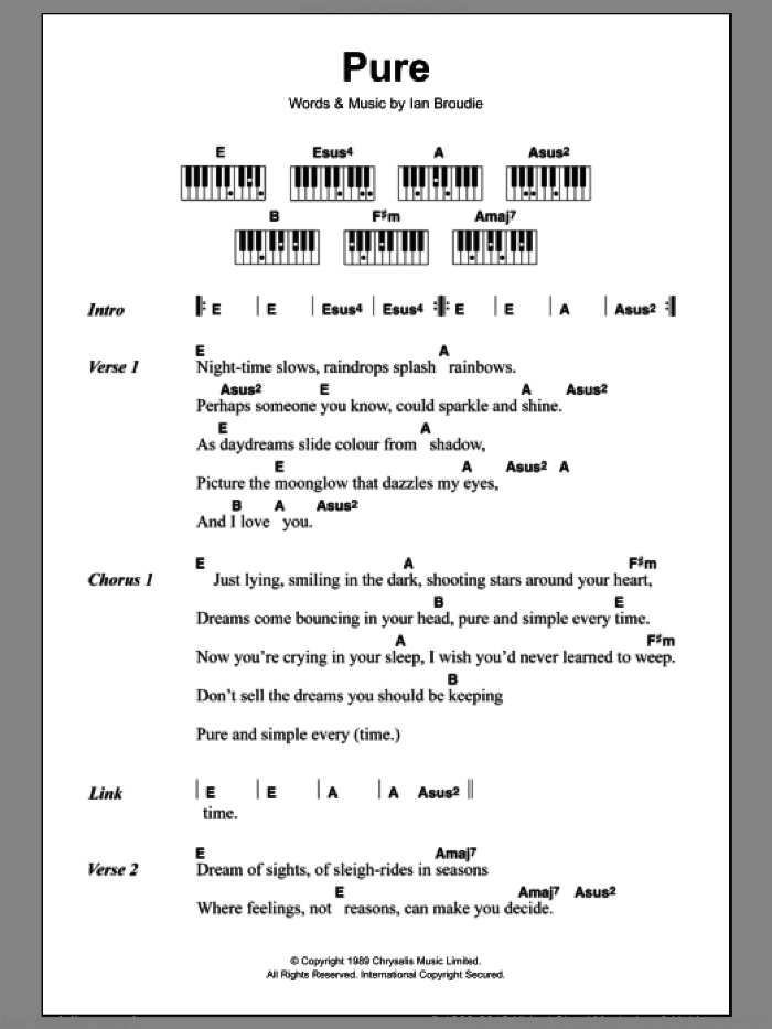 Pure sheet music for piano solo (chords, lyrics, melody) by Ian Broudie