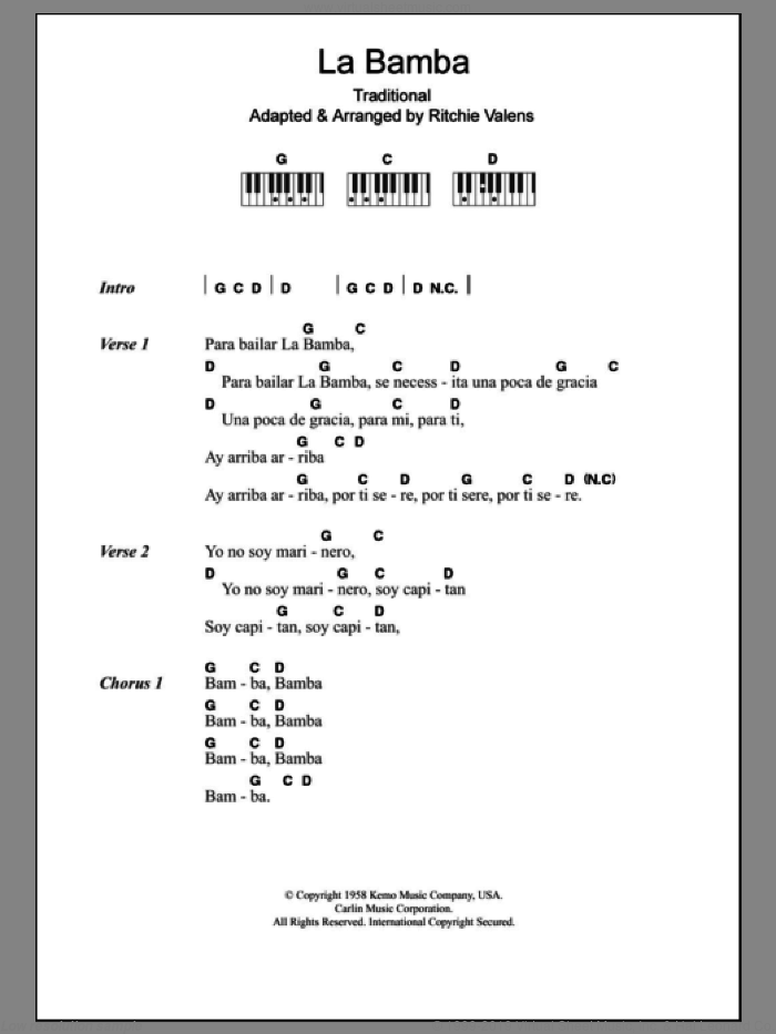 La Bamba sheet music for piano solo (chords, lyrics, melody) , Los Lobos and Ritchie Valens. Score Image Preview.