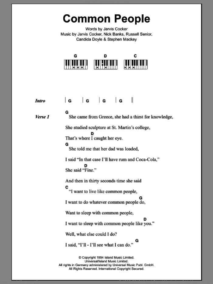 Common People sheet music for piano solo (chords, lyrics, melody) by Pulp, Candida Doyle, Jarvis Cocker, Nick Banks, Russell Senior and Stephen Mackey, intermediate piano (chords, lyrics, melody). Score Image Preview.