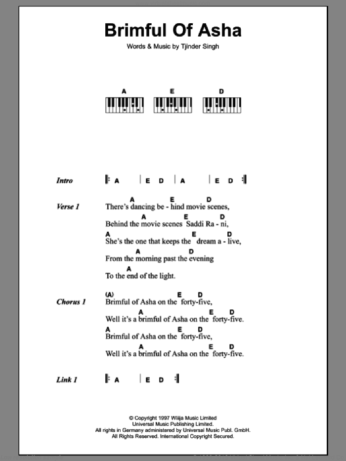 Brimful Of Asha sheet music for piano solo (chords, lyrics, melody) by Cornershop, intermediate piano (chords, lyrics, melody). Score Image Preview.