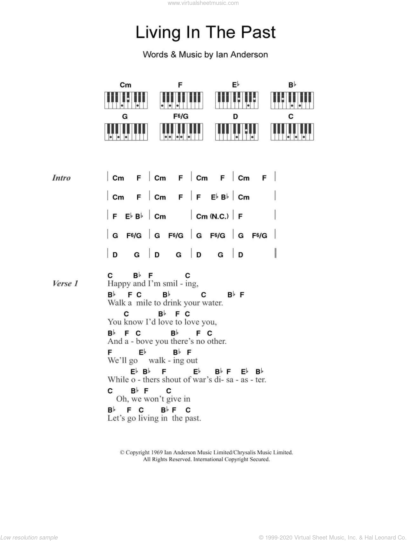 Living In The Past sheet music for piano solo (chords, lyrics, melody) by Jethro Tull and Ian Anderson, intermediate piano (chords, lyrics, melody)