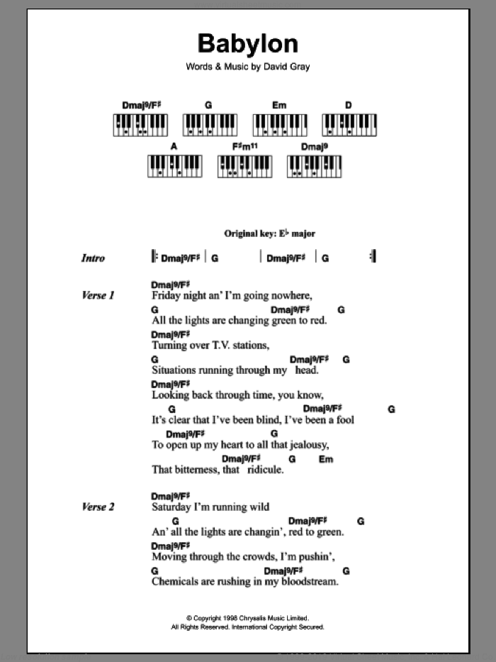 Babylon sheet music for piano solo (chords, lyrics, melody) by David Gray, intermediate piano (chords, lyrics, melody)