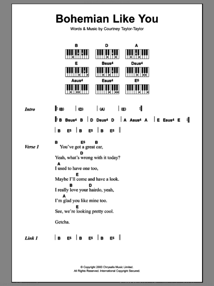 Bohemian Like You sheet music for piano solo (chords, lyrics, melody) by Courtney Taylor-Taylor. Score Image Preview.